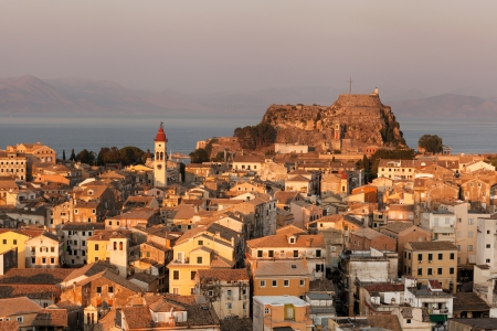 kerkyra: Kerkyra Town in Corfu at sunset