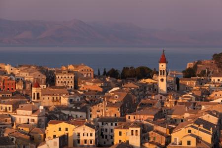 Kerkyra Town in Corfu at sunset photo