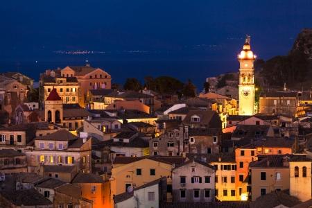 kerkyra: Panoramic view of the citylights of Corfu Town at night  Kerkyra  Greece, Corfu island Stock Photo