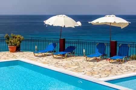 Swimming pool at luxury villa, Lefkada, Greece photo