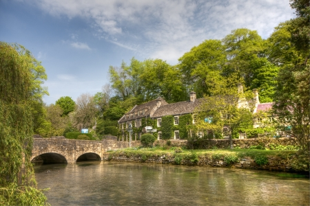 scenary: Typical Cotswolds scenary in Bibury