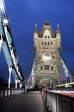 Tower Bridge at night, London, UK photo
