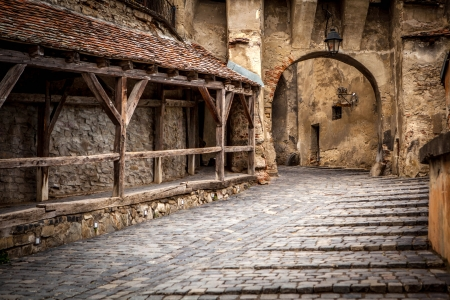 Medieval street view in Sighisoara, Transylvania, founded by saxon colonists in XIII century  Romania landmark