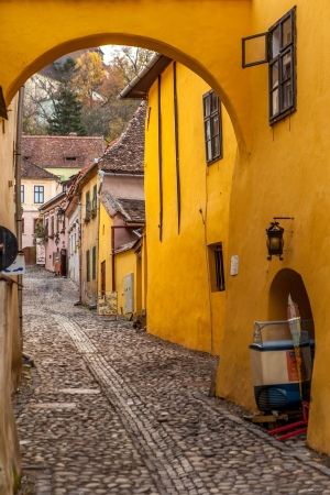 Medieval street from Sighisoara, Romania Reklamní fotografie