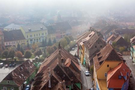 arial view: Sighisoara, medieval city, saxon landmark of Transylvania in Romania Arial view Stock Photo
