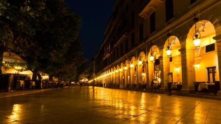 kerkyra: Liston street at night on Kerkyra Town, Greece