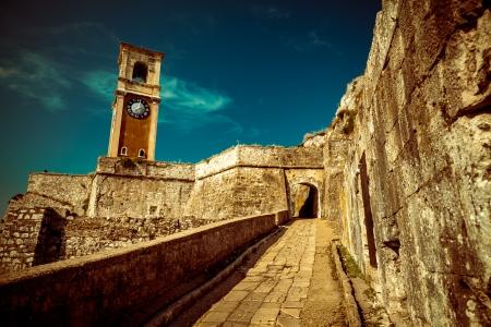 Inside old Byzantine fortress in Corfu - Vintage, Greece