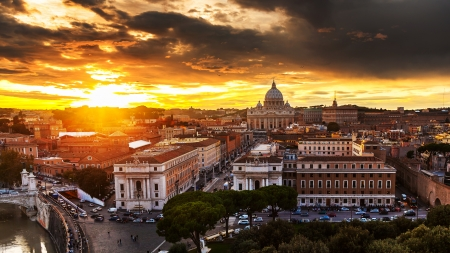 Wonderful view of Rome at sunset with St Peter Cathedral  Reklamní fotografie