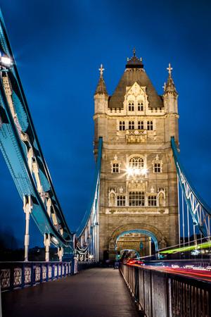 uk: London Tower Bridge at night, UK Stock Photo