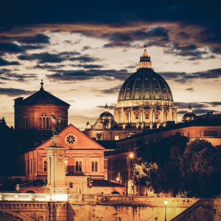 Vintage Night view at St. Peter's cathedral in Rome, Italy