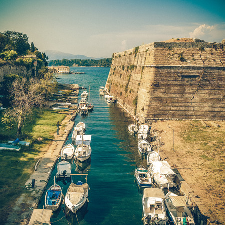 kerkyra: Old Byzantine fortress in Corfu, canal view - Greece, vintage coaster