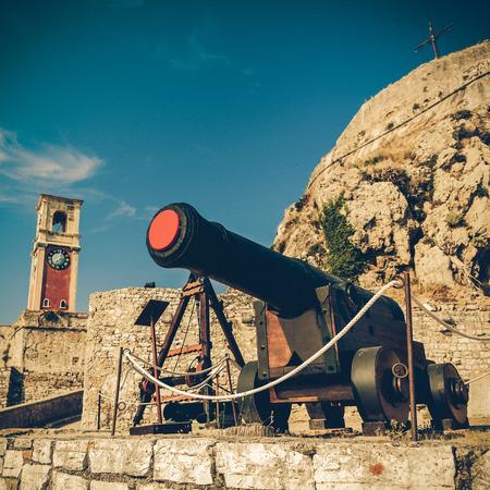 kerkyra: Old Byzantine fortress in Corfu, canal,  Greece - vintage coaster