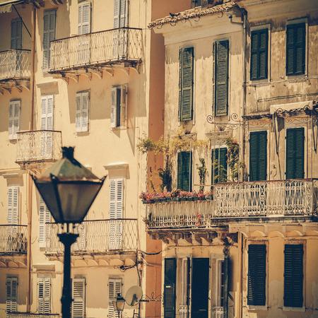 specific: Specific old Corfu Town facades, Greece - vintage coaster