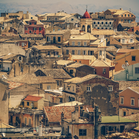 View from castle to Corfu-Town  Kerkyra in Greece - vintage coaster