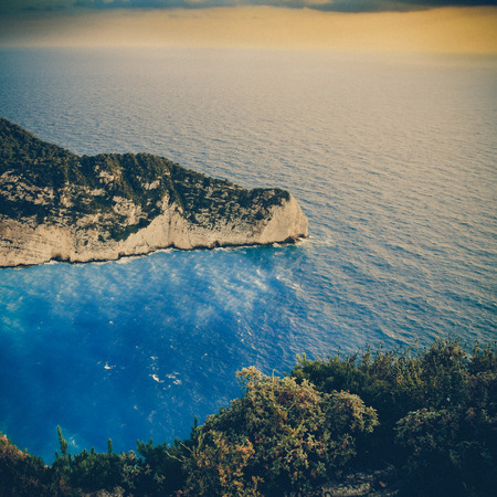 beach Navagio in Zakynthos, Greece - vintage coaster photo