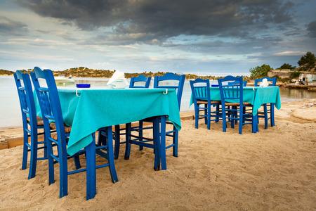 Greek tavern sea food in Halkidiki, Sithonia - Ormos Reklamní fotografie