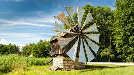 Windmill in open-air Astra museum in Sibiu, Romania