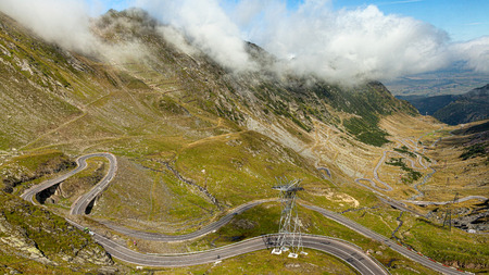 Panorama. Transfagarasan road in Romania DN7C. Reaches 2034 m above sea level height. Reklamní fotografie