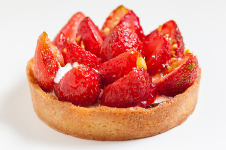 flan: strawberry tart, strawberry flan closeup Stock Photo