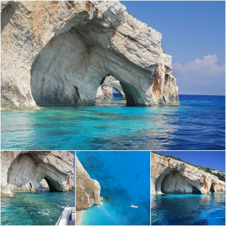 ionian island: Photo collage from Greek island on Ionian Sea - Zakynthos Collage includes most famous places of the island Stock Photo