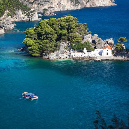 Church on small island Parga Epirus, Greece