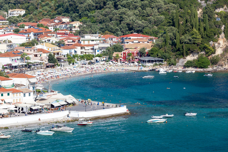 arial view: Parga (arial view), Greek village near the Ionian sea, Greece. Stock Photo