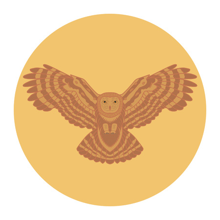 Silhouette of a owl in the sun Illustration