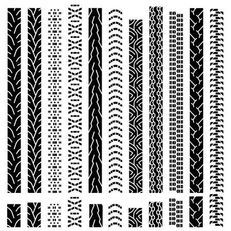 motor race: Collectie texturen van vector bandensporen, bandensporen, banden, loopvlak markeert silhouet  patroon voor machine en voertuig
