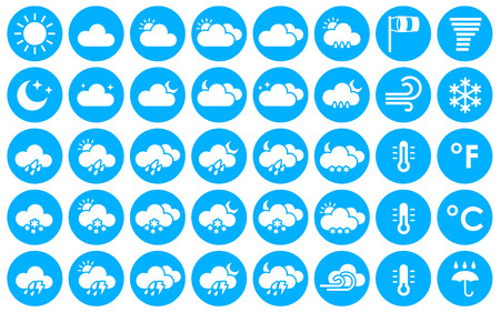 cloudiness: Set of weather icons. Vector illustration for your design solution of blue color. Eps 10. Clear sky. Cloudy weather. Increased cloudiness. Sunshine. Sunlight. Tornado. Blizzard