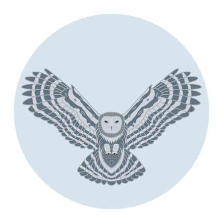 hoary: Silhouette of a owl in the moon. Vector illustration owl. Ethnic image of owl. Decorative element. Illustration