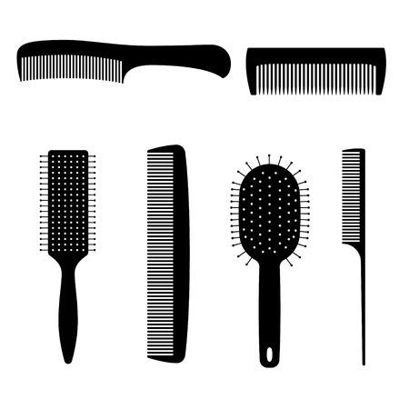 personal grooming: Set of vector black comb hair. Digital illstration