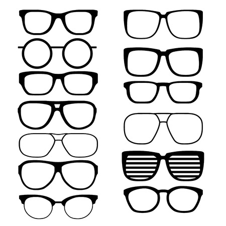 black men: Set of black men glasses. Vector  illustration