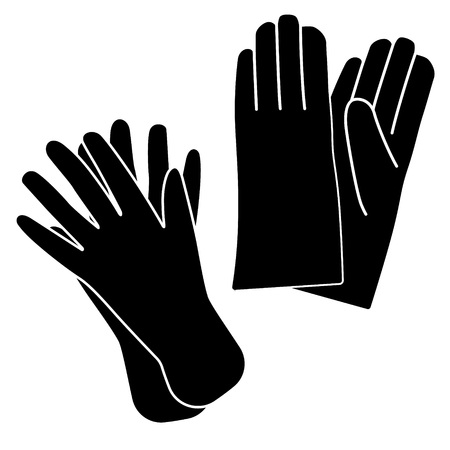 rubber gloves: Icon of protective rubber gloves. Vector illustration