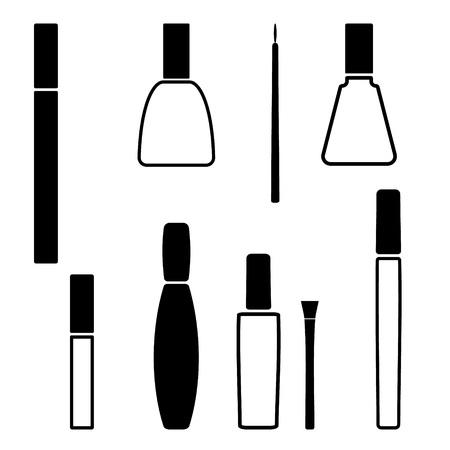 bruise: set of Black nail polish icon. Vector illustration