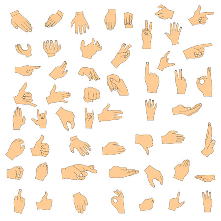 Set of hand gestures. Vector digital illustration