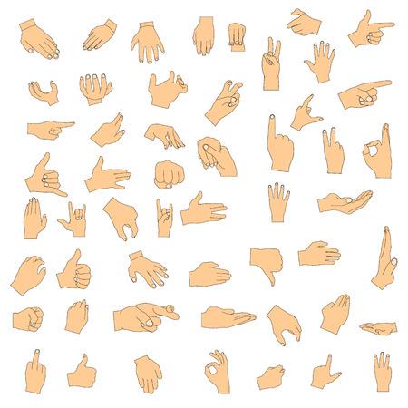 Set van handgebaren. Vector digitale illustratie