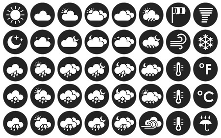 Set of weather icons. Black and white vector illustration for your design solution.