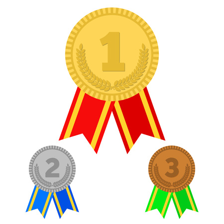 medal: Three vector medals gold, silver and bronze