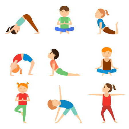 Set of yoga kids. Healthy lifestyle.  Vector illustration. Healthy  children gymnastics.