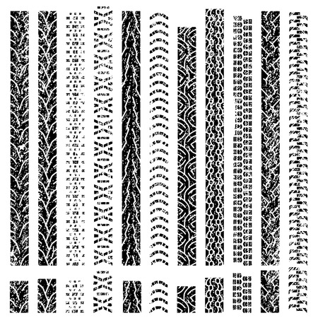 Big set texture of vector tire tracks, tire marks, tire tread, tread marks silhouette and pattern for machine and vehicle Vectores