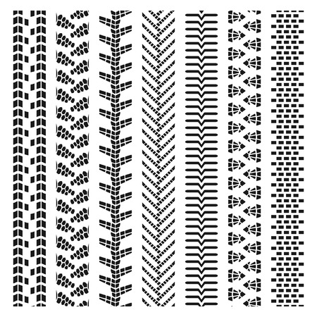 treads: Big set texture of vector tire tracks, tire marks, tire tread, tread marks silhouette and pattern for machine and vehicle Illustration