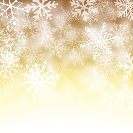 Christmas card with snowflakes on gold background for your design. Winter card Merry Christmas, New Year and Happy Holiday. Vector illustration.