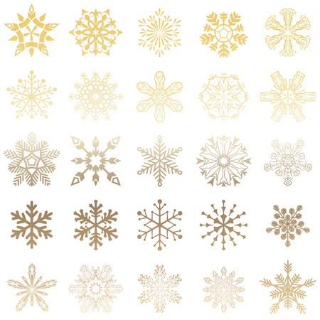 Set of vector snowflakes icon. Gold snowflakes icon on gradient background blue and white colorful. Collection graphic art for your design Merry Christmas and Happy New Year. 矢量图像