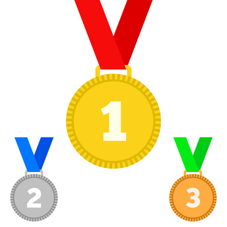 Set of gold, silver and bronze Award medals on white Illustration