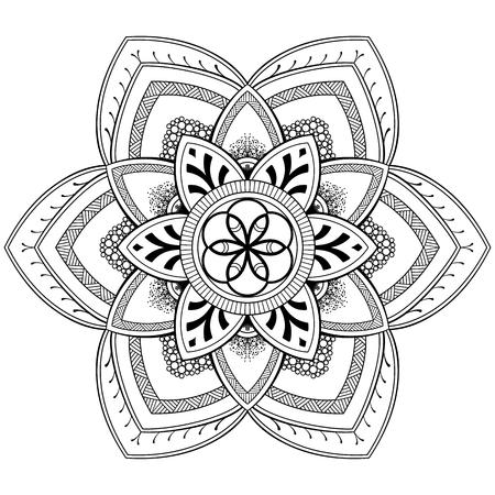 Bloem Mandala-motieven. Vintage decoratieve elementen. Oosters patroon, vectorillustratie. Kleurboekpagina Stock Illustratie
