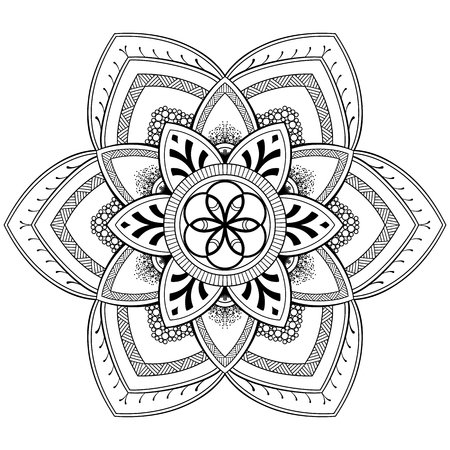 Flower Mandala motifs. Vintage decorative elements. Oriental pattern, vector illustration. Coloring book page Иллюстрация