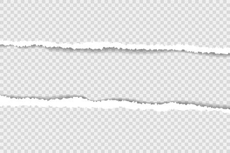 bordi di carta strappati, trama di sfondo senza soluzione di continuità in orizzontale, vettore isolato nello spazio per la pubblicità, banner della pagina web, bordo e intestazione, concetto di stampa dell'illustrazione Vettoriali
