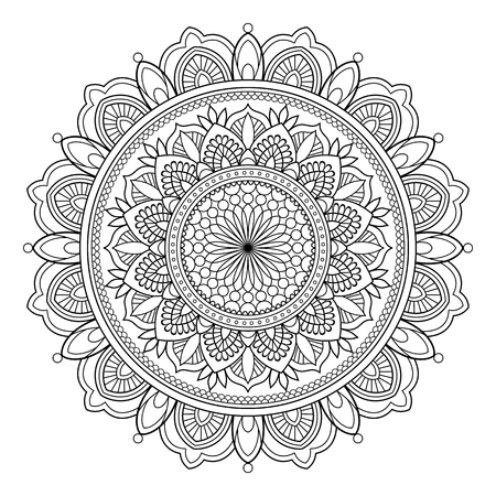Circular pattern in form of mandala for Henna, Mehndi, tattoo, decoration. Decorative ornament in ethnic oriental style. Vintage oriental ornament elements. Vector illustration. Coloring book page