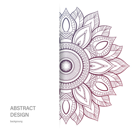 Ornament color card with mandala. Vintage decorative elements. Hand drawn background.