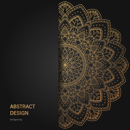 Set of vector design templates. Business card with floral circle ornament. Mandala style. Luxury Gold Illustration
